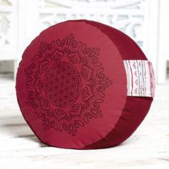 Coussin de méditation Fleur de Vie, Hibiscus-Rouge