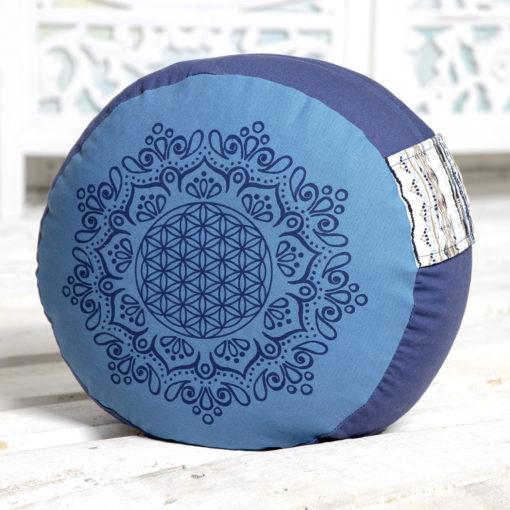 Coussin de méditation Fleur de Vie, bleu azur océan